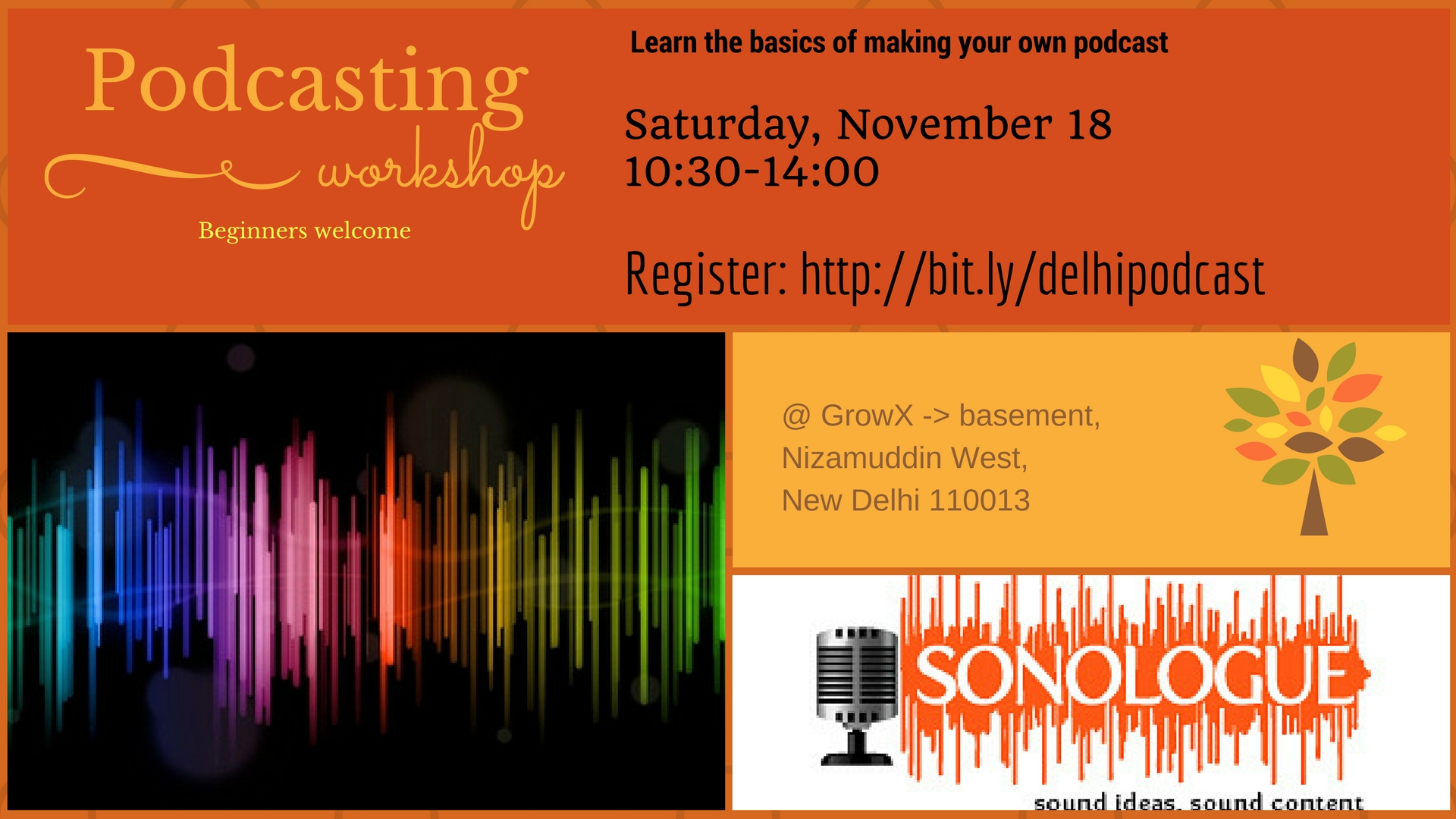 Nov 2017 Delhi Podcasting 101 poster